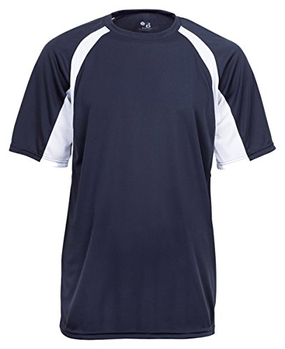 Badger Sportswear Men's Hook Performance Tee, Navy/White, Small