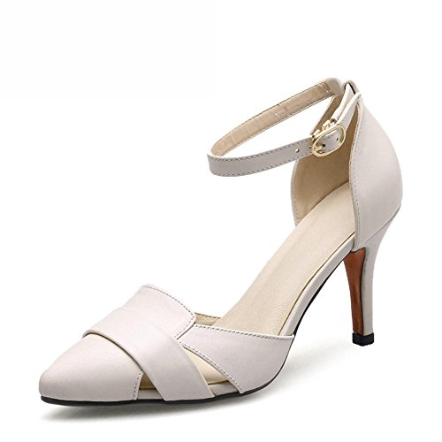 L@YC Women'S High Heels Leather Baotou Big Word Word Buckle With Pointed Sandals White
