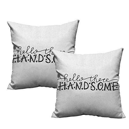 warmfamily Simple Pillowcase Hello Hello There Handsome Typographic Text with Doodle Stars for Baby Boys Kids Birthday with Hidden Zipper W18 xL18 2 pcs ()