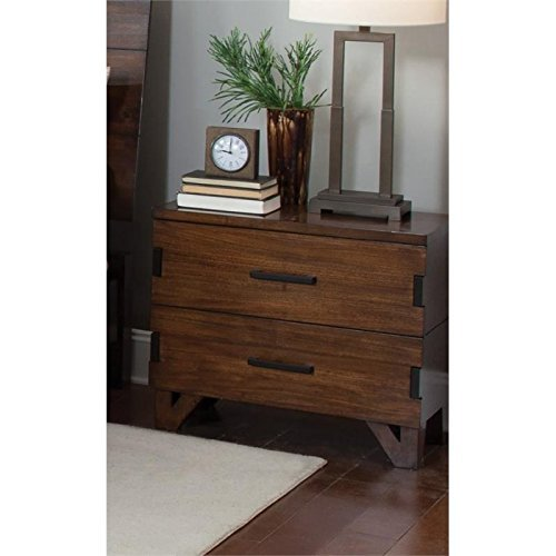 Coaster 204852-CO Yorkshire 27.5'' Nightstand with 2 Drawers Charging Access Dark Bronze Handles Asian Hardwood Poplar Wood and Veneer Materials, Coffee Bean by Coaster Home Furnishings
