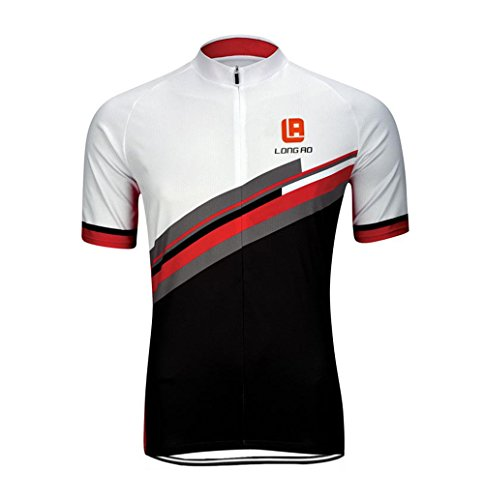 WWL Fashion Mens Cool Breathable Cycling Wear Bicycle Jersey Quick Dry Sweat Short Sleeve Zipper Activewear T-Shirt
