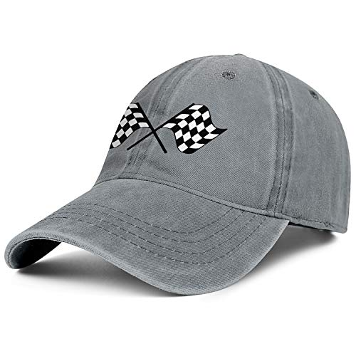 Cowboy Cotton Ball Hat Checkered Flags Race Car Flag Classic Hip-hop Sport Cap Adjustable Snapback Denim Hat 2 Mm Race Screen