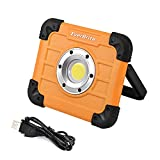 EverBrite 800 Lumen Work Light, Rechargeable Portable Aluminium LED Flood Light with Stand, Adjustable Lighting Angles, for Camping, Hiking, Car Repair/Garage, Workshop, Construction Site.
