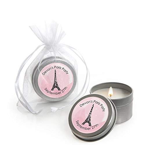 Custom Paris, Ooh La La - Personalized Candle Tins Paris Themed Baby Shower or Birthday Party Favors - Set of 12