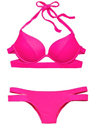 Victoria's Secret Swim Push-Up Hottie Halter Double-Banded Itsy Bikini Set 34DD L (Swim Halter Banded)