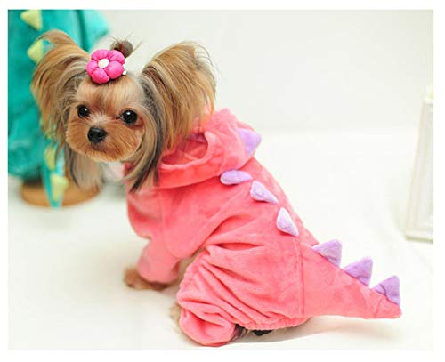 Fanatical-Night Funny Dog Clothes Pet Dragon Puppy Coat Dinosaur Clothing Up Teddy Hoodies Jersey Clothing,Pink,S -