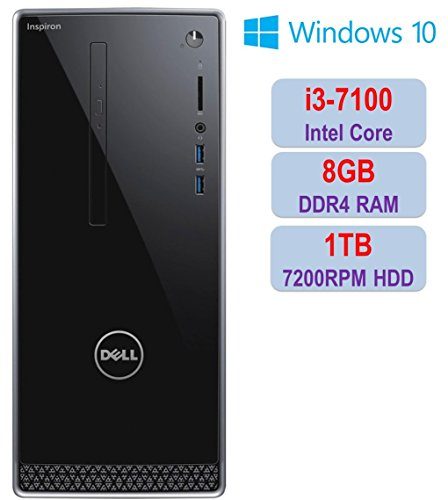 2018 Newest Premium Dell Inspiron i3668 Desktop PC, Intel Core i3-7100 3.90 GHz Processor, 8GB DDR4 ,1TB 7200RPM HDD, HD Graphics, DVD±RW, Bluetooth, HDMI, WIFI, Dell Keyboard & Mouse, Windows 10