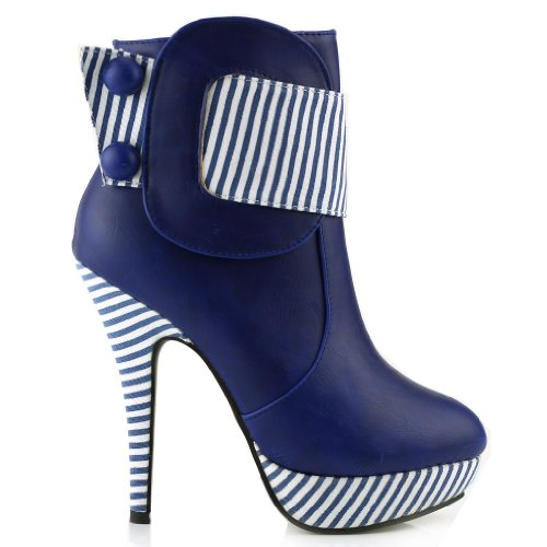 (SHOW STORY Blue Striped Button Zipper High Heel Stiletto Platform Ankle Boots,FZ30303BU38,7US,Blue)