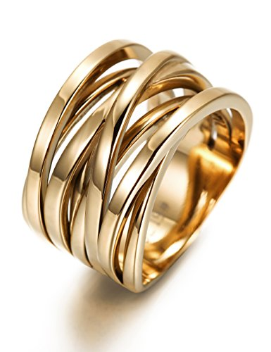 Women's Gold Plated Engagement Wedding Band Rings X Cross Wide Stainless Steel Ring (Gold Wide Band Ring)