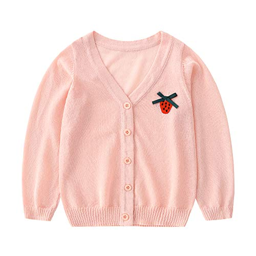 (Baby Girl Cardigan -Kids Knit Summer Sweater for Toddlers 24 Months Spring Clothes Warm Season Wear 2T Thin Coat (Pink, 2-3 Years))