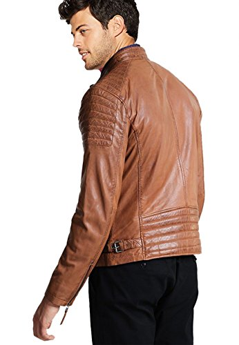 Geniune Brown Vintage Quality Moto Black amp; Brown High Jacket Leather Classic vFw04fq