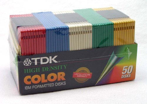 TDK High Density COLOR IBM Formatted Disks - (50 Disks) by TDK