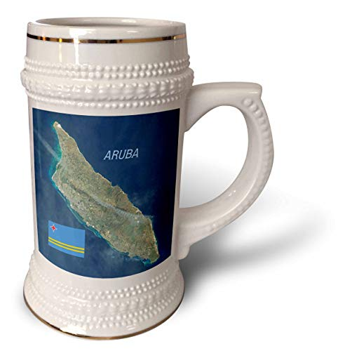 3dRose lens Art by Florene - Topo Maps And Flags - Image of Aerial Topo View With Flag Of Aruba - 22oz Stein Mug (stn_306862_1)