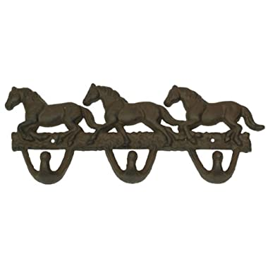 Cast Iron Horses Wall Hooks Rust Home Room Decor