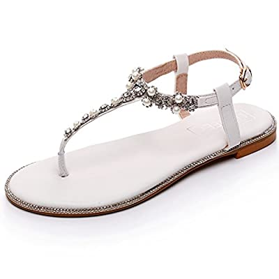 LUXVEER Beach Wedding Shoes,Wedding Flats-BE-01-Pearls