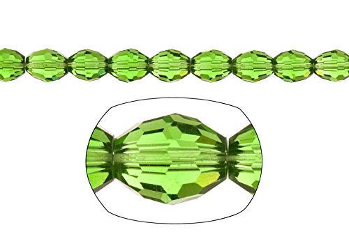 Crystal bead, center-drilled 42-facet oval cut, fern green, 8x11mm