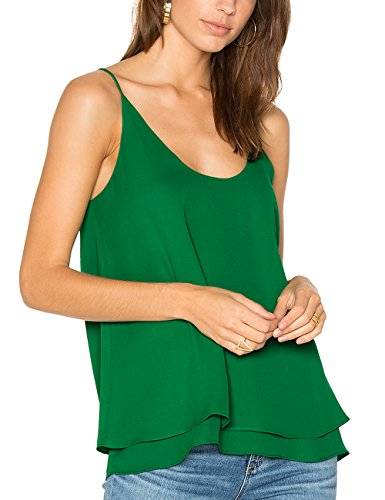 Dohia Women's Summer Chiffon Layered Cami Tank Tops Loose Fit Casual Blouses C2714 (M, Dark (Chiffon Green)