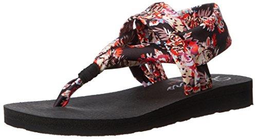 Femme Ouvertes Sandales Floral Skechers Black nbsp;studio Meditation Kicks BwzRAAXqnI