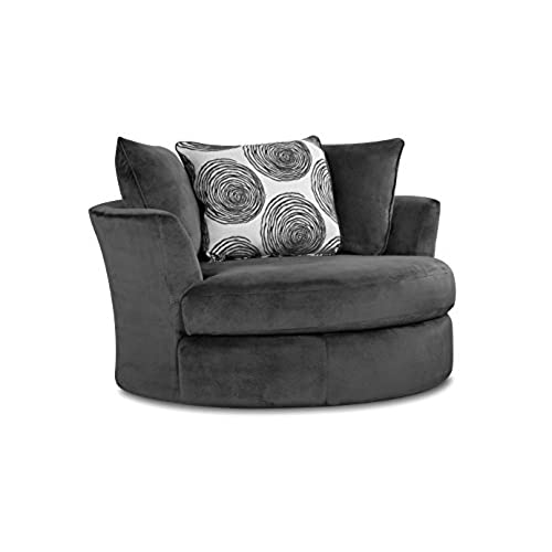 Chelsea Home Furniture Rayna Swivel Chair, Groovy Smoke/Big Swirl Smoke