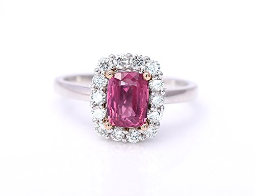 Natural Padparadscha Sapphire - Natural Padparadscha Sapphire Cushion Cut and Diamonds Statement Cocktail Engagement Ring Lotus Orange Pink Color 2.00 cttw 14K White and Rose Gold New Size 7 Certified