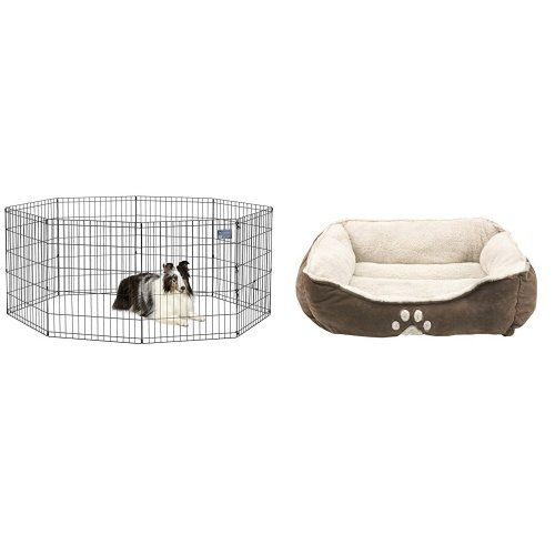 41HMSjh6vQL - MidWest Foldable Metal Exercise Pen / Pet Playpen and Sofantex Pet Bed - Fit Medium Sized Dog / Fat Cat, Machine Washable, Ultra Soft Pet Sofa - Dark Coffee Bundle