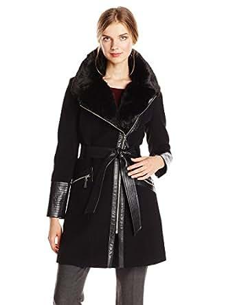 Amazon.com: Via Spiga Women's Kate Wool-Blend Coat with Faux-Fur Collar: Clothing