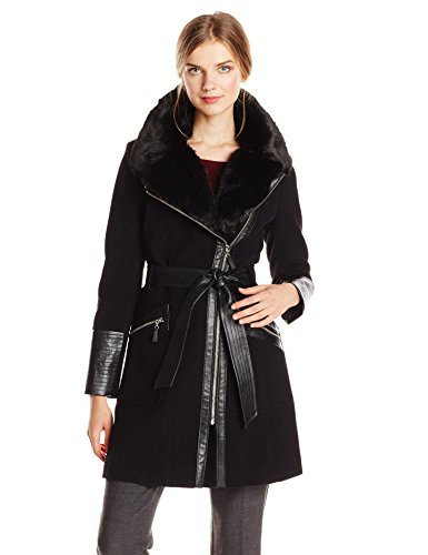 (Via Spiga Women's Kate Mid-Length Belted Wool Asymmetric Zip Front Coat with Faux Fur Collar, Black/Silver Zipper, 12 )