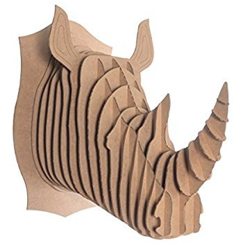Escultura Para Pared Cabeza Animal Rinoceronte de Cartón, Puzzle 3D DIY Decoración Colgante