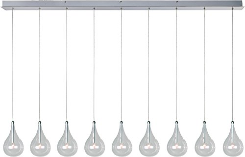 Larmes 5 Light Pendant - ET2 E23119-18 Larmes 9-Light Linear Pendant, Polished Chrome Finish, Clear Glass, 12V G4 Xenon Bulb, 50W Max., Dry Safety Rated, Shade Material, 3750 Rated Lumens