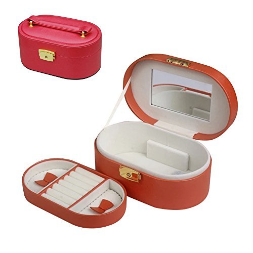 Small Travel Jewelry Box Organizer for Earring Ring Necklace Watch Storage - Faux Leather & Soft Beige Velvet Storage Case Holder (Begonia Red (UPGRADED))