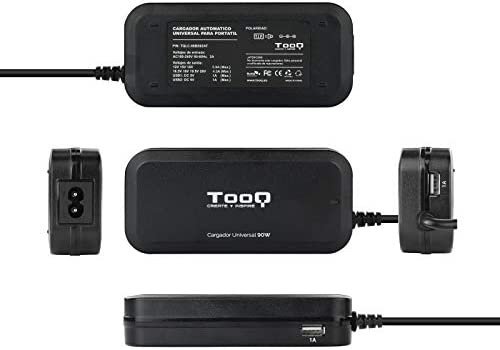 TooQ TQLC-90BS02AT - Cargador adaptador universal automatico de 90 W para ordenador portatil, Salida 2xUSB para cargar dispositivos, incluye 12 ...