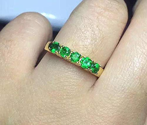 All Natural Green Tsavorite Ring, Stackable Rings, Gold Plated Sterling Silver Rings, Engagement Wedding Ring, Handmade Aesthetic