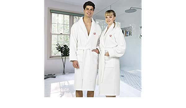 352323f303 Amazon.com  Authentic Hotel and Spa White Unisex Turkish Cotton Waffle  Weave Terry Bath Robe with Red Script Monogram White T L-XL  Home   Kitchen