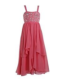 Fashion Plaza Girl's A-line Strap Long Chiffon Bridesmaid Flower Girl Dress K0116