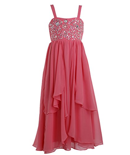 FAIRY COUPLE Big Girl's A-line Asymmetric Ruffles Beaded Long Flower Girl Dress K0116 12 Coral (Christmas Floor 12 Floors 100)