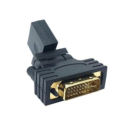 Wpeng Rotate 90 180 360 degree Female to Male gold plating adapter HDMI to DVI Connector Gold Converter Adapter for (Rotate Monitor 90 Degree)
