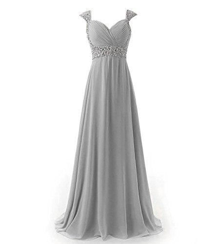 AbendKleid Brautjungfer Damen Lange Abschlussball Kleider Silber Kmformals IZ8HxtqZw