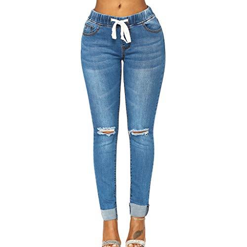 SERYU Women Hight Elastic Waisted Hole Denim Jeans Stretch Slim Pants Length Jeans