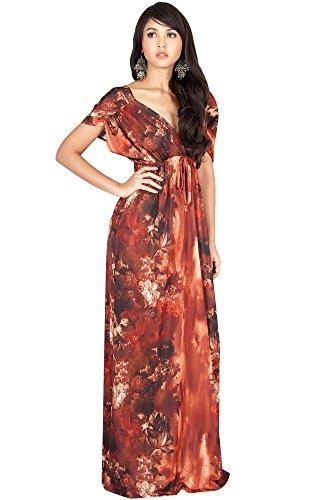 KOH KOH Petite Womens Long V-Neck Short Kimono Sleeve Summer Flowy ... 639d66628