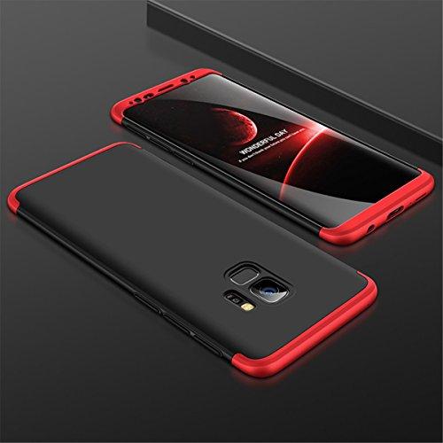 Coque Galaxy S9, Galaxy S9 Plus Case 360 Protection PC 3 en 1 Full Cover Adamark Housse Integrale Bumper Etui Case Accessoires Ultra Fin Et Discret Pour Samsung Galaxy S9/S9 Plus (Sans protecteur de f Rouge Noir