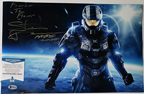 """Steve Downes autographed 11x17 Photograph Microsoft XBox Halo Master Chief Voice Actor with Insc.""""Finish the Fight"""" Beckett"""