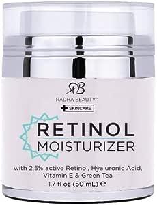 Retinol Moisturizer Cream for Face 1.7 oz with 2.5% retinol, hyaluronic acid and jojoba oil. Best night and day moisturizing cream 1.7 fl. oz