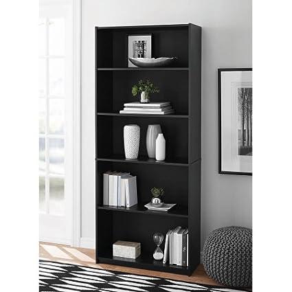 Mainstays 5 Shelf Wood Bookcase Black