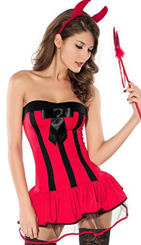 Oompa Loompa Costumes For Dogs (IF FEEL Women Halloween Sexy Charming Angel And Devil Dress Costume Set (One size, Red))