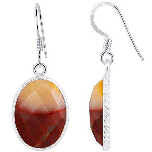 14 Ctw Mookaite Jasper Jewelry By Orchid Jewelry : Hypoallergenic Dangle Earrings For Sensitive Ears, Nickel Free Wedding Earrings, Sterling Silver Bridal Dangling Earring