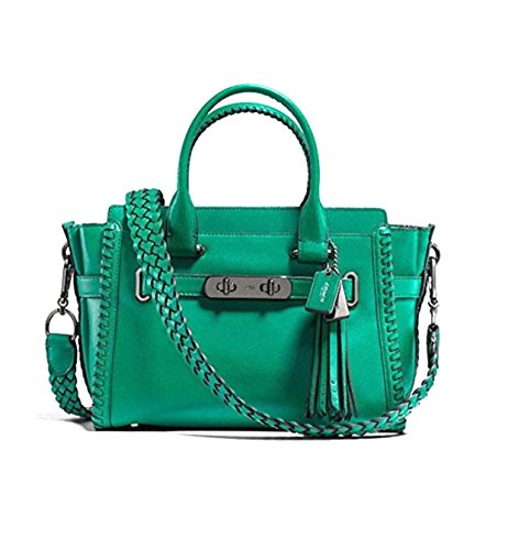 COACH Women's Rip and Repair Coach Swagger 27 DK/Forest Satchel