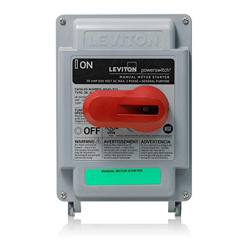 Leviton MS4X-303 30 Amp, 600 VAC, 3-Pole, Non-Fused Manual Motor Starter, Suitable as Motor Disconnect, Type 4X Thermoplastic Enclosure, - Disconnect 600v