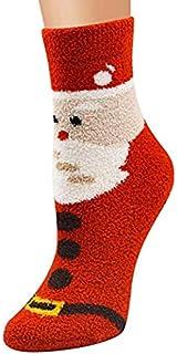 AJOYCN Chaussettes de Noël, Chaussettes de Noël de nouveauté Amusantes pour Dames Chaussettes Chaudes Cadeau de Noël