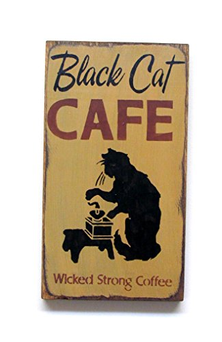 Wooden Fall Sign ~ Black Cat Cafe ~ Halloween Decor