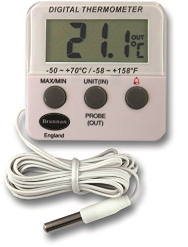 Digital Freezer / Fridge Thermometer With Alarm and Max Min Temperature Feature
